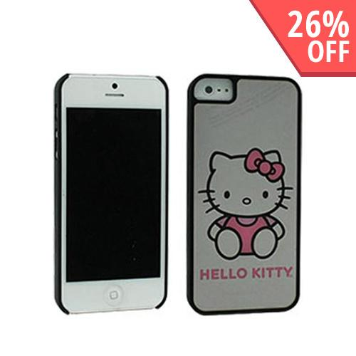 Apple iPhone SE / 5 / 5S  Case, Hello Kitty [Black w/ Mirror Effect]  Hard Case