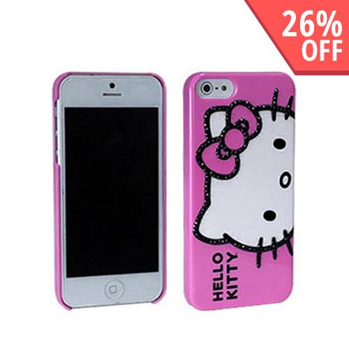 Hello Kitty w/ Black Gems on Baby Pink Hard Case for Apple iPhone 5/5S