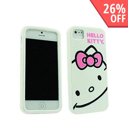 Hello Kitty w/ Pink Bow on White Silicone Case for Apple iPhone 5/5S