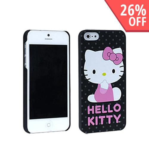 Hello Kitty on Gray Polka Dots Rubberized Hard Case for Apple iPhone 5/5S