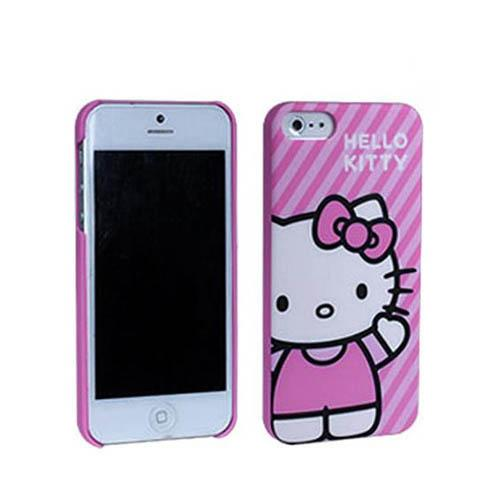 Hello Kitty on Diagonal Stripes Hard Case for Apple iPhone 5/5S