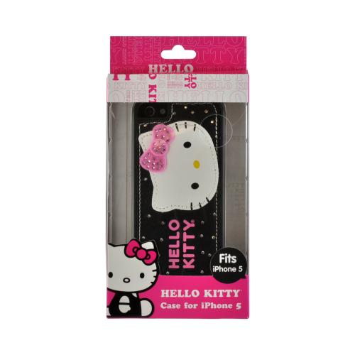 Hello Kitty Leather & Felt on Black Hard Case for Apple iPhone 5/5S