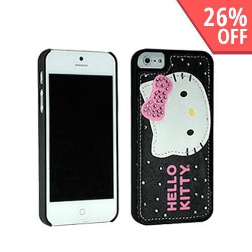Apple iPhone SE / 5 / 5S  Case, Hello Kitty [Leather & Felt on Black]  Hard Case