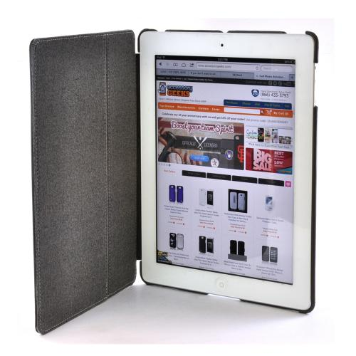 Targus Gray Slim Hard Back Folio Case Stand w/ Stylus Storage & Magnetic Closure for Apple iPad 3 & 4