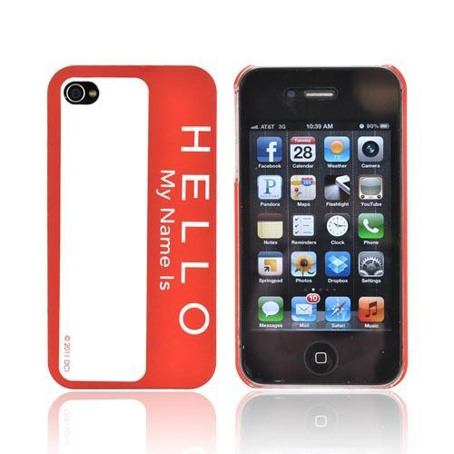 Original DCI AT&T/ Verizon iPhone 4, iPhone 4S Flash Rubberized Hard Case, 30468 - Red Hello Name Tag