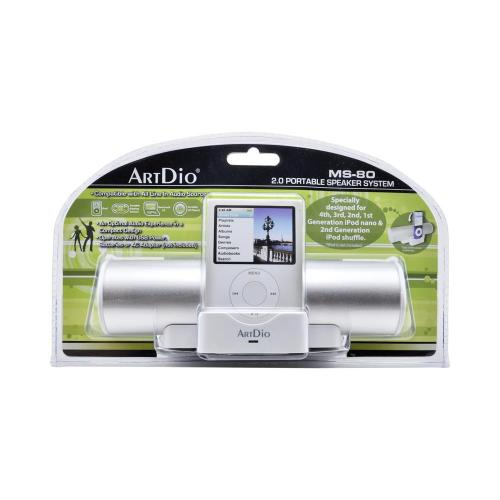 OEM Kinyo/ ArtDio Universal 2.0 Portable Speaker System w/ Carrying Case & Batteries, MS-80SIL - Silver