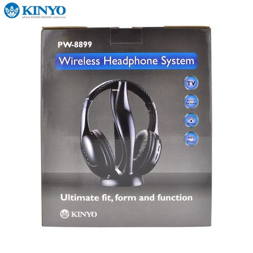 OEM Kinyo Universal Wireless Over-the-Ear Headphones w/ Built-in Radio &Transmitter (3.5mm) - Black