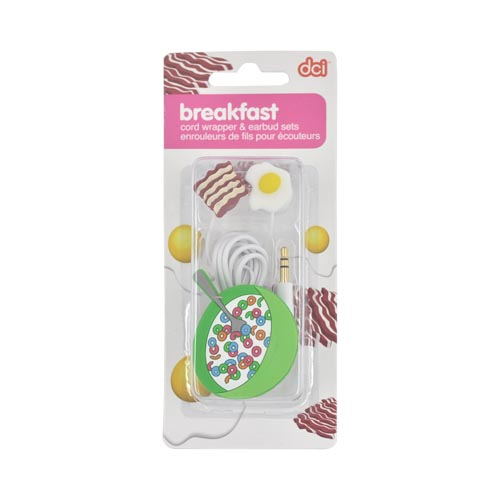 Original DCI Ear Bud Headset (3.5mm) w/ Cord Wrapper, 32387 - Cereal w/ Bacon w/ Egg