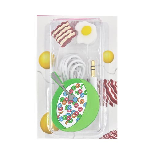 Original DCI Universal Ear Bud Headset (3.5mm) w/ Cord Wrapper, 32387 - Cereal w/ Bacon w/ Egg