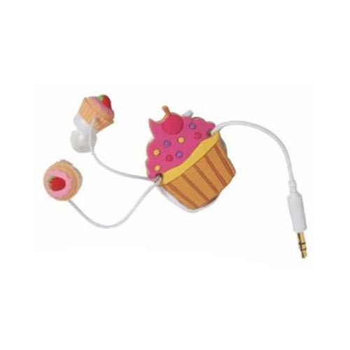 Original DCI Universal Ear Bud Headset (3.5mm) w/ Cord Wrapper, 32387 - Pink Cupcakes
