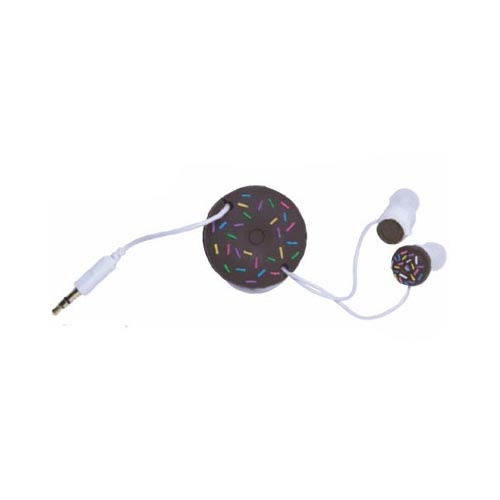 Original DCI Ear Bud Headset (3.5mm) w/ Cord Wrapper, 32387 - Brown Donuts w/ Coffee