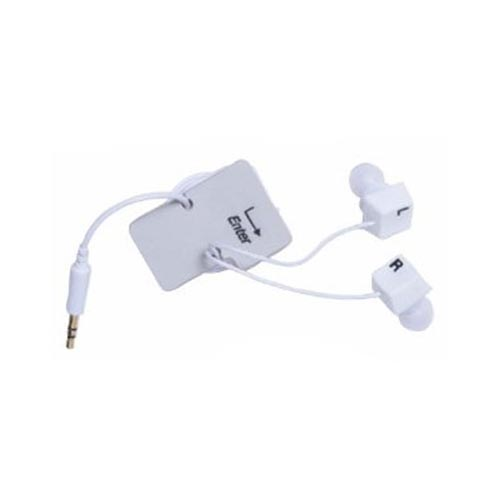 Original DCI Universal Ear Bud Headset (3.5mm) w/ Cord Wrapper, 32387 - White Keyboard Keys