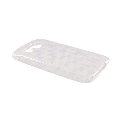 Premium HTC Inspire 4G Crystal Silicone Case - Clear/White Prism