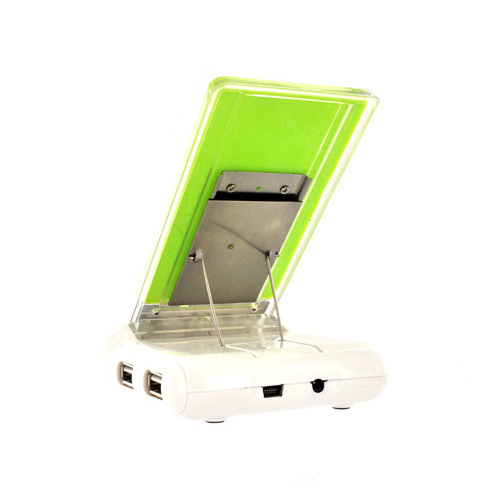 Cell Phone Stand Holder w/ USB Hub & Card Reader - Green/ White