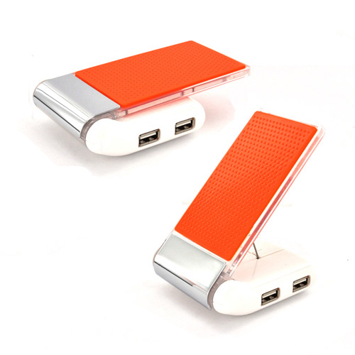 Cell Phone Stand Holder w/ USB Hub & Card Reader - Orange/ White