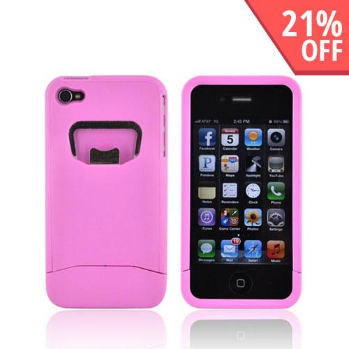 AT&T/ Verizon Apple iPhone 4, iPhone 4S Rubberized Bottle Opener Hard Case - Baby Pink