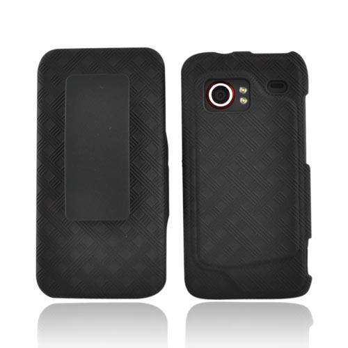 Original Verizon HTC Droid Incredible Rubberized Textured Combo Holster and Case, 03872 - Black