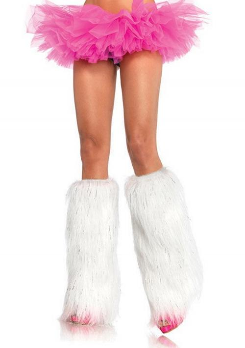 LegAvenue Halloween Costume Furry Lurex Leg Warmers - Available in White,Silver Hot Pink 3923