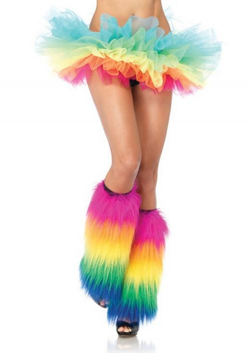 LegAvenue Halloween Costume Furry Rainbow Leg Warmers - Rainbow 3925