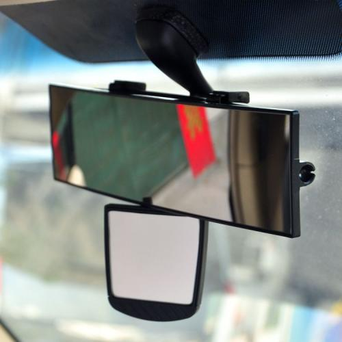 "Car Accessories [Black] Wide Inside Rear View Mirror (Main Mirror: 11"", Auxiliary Mirror: 2.75"")"