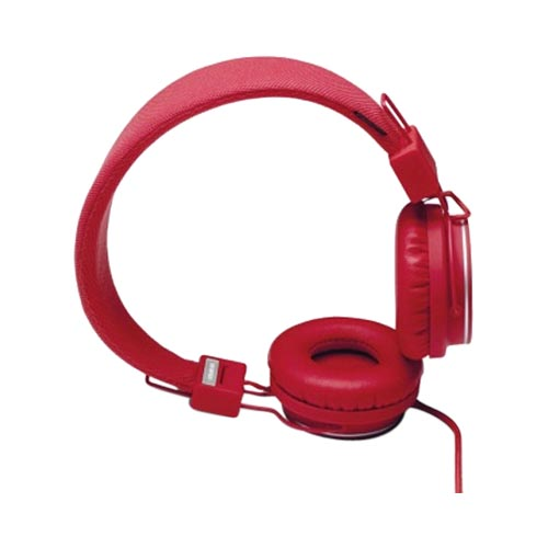 Original Urbanears Plattan Universal Over Ear Collapsible Headphones w/ Mic/ Remote/ Fabric Cord, 4090340 - Red Tomato