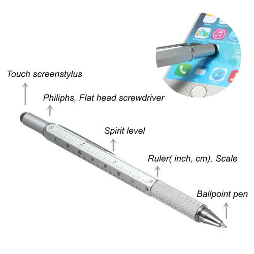 6 in 1 Pen Tool w/ Pen Flathead Screwdriver, Level, and Ruler [Black]