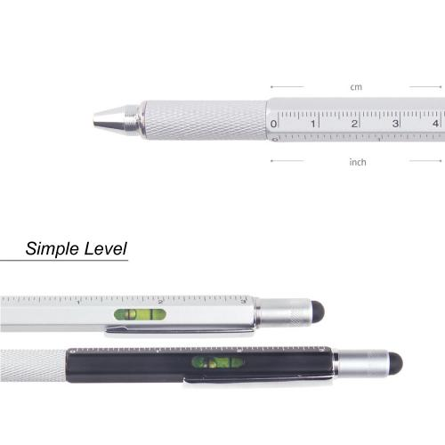 6 in 1 Pen Tool w/ Pen, Flathead Screwdriver, Level and Ruler [2PK - Silver]