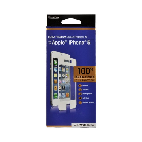 WriteRight Anti-Glare & Anti-Fingerprint Screen Protector Kit w/ White Border for Apple iPhone 5