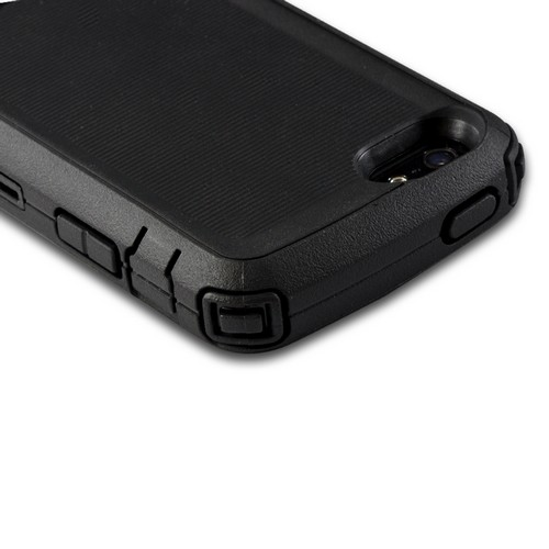 Body Glove Black Tough Suit Series Crystal Silicone Over Hard Case w/ Holster & Built-In Screen Protector for Apple iPhone 5
