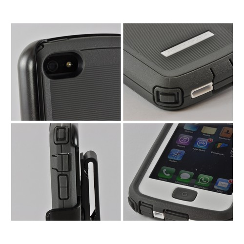 Body Glove Gray/ White Tough Suit Series Crystal Silicone Over Hard Case w/ Holster & Built-In Screen Protector for Apple iPhone 5