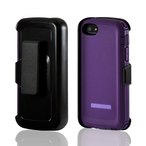 Apple iPhone SE / 5 / 5S  Case, Body Glove [Purple] Tough Suit Crystal Silicone Over Hard Case w/ Holster & Built-In Screen Protector