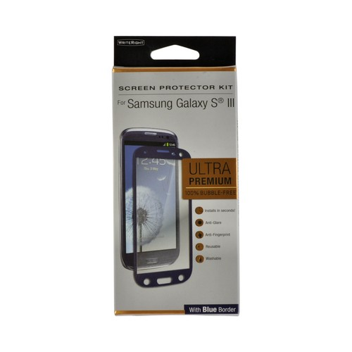 WriteRight Anti-Glare & Anti-Fingerprint Screen Protector Kit w/ Blue Border for Samsung Galaxy S3