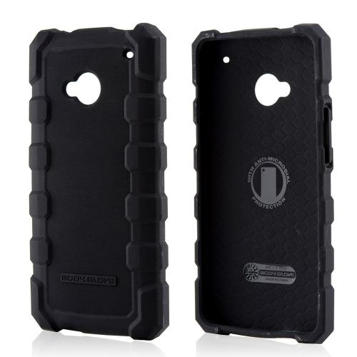 Body Glove Black DropSuit Crystal Silicone Case w/ Textured Lines for HTC One