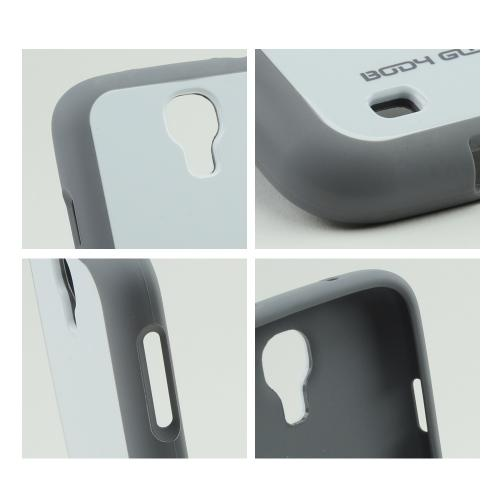 Body Glove White/ Gray Merge Hybrid Hard Back w/ TPU Border for Samsung Galaxy S4 - 9334303