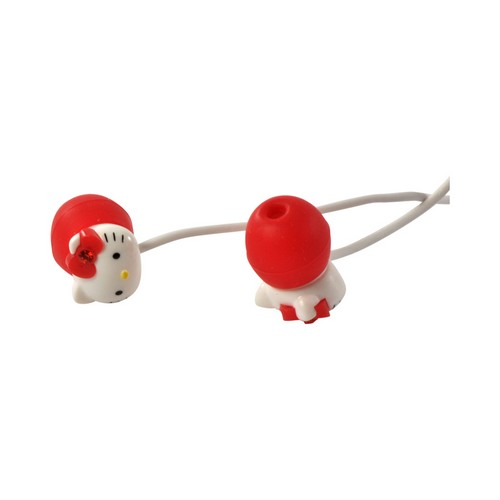 Officially Licensed Sanrio White/ Red Hello Kitty Stereo Earphones w/ Microphone & Answer/ End Button (3.5mm)