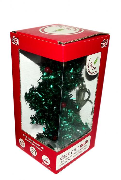 DCI Deck Your Desk USB Mini LED Christmas Tree - Light Your Desk w/ Multi-Colored Lights!