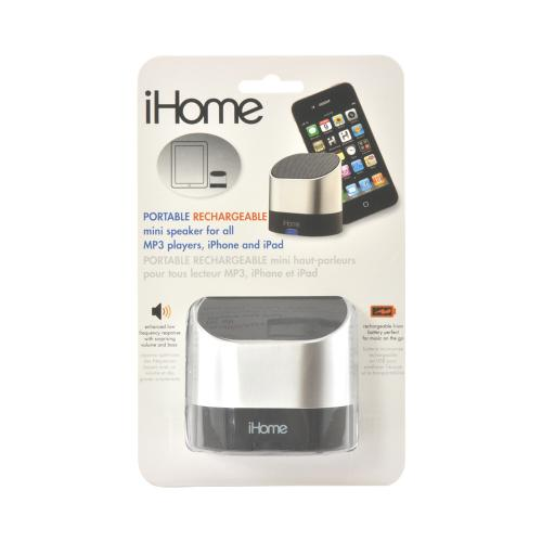iHome Portable Rechargable Mini Speaker w/ Carrying Case & 3.5mm Cable - Silver/ Black
