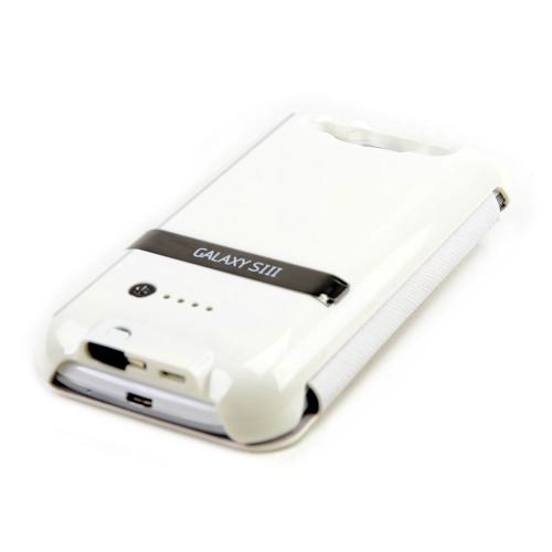 Premium Samsung Galaxy S3 Flip Cover Hard Case w/ Extended Battery & Stand (2600 mAh) - White