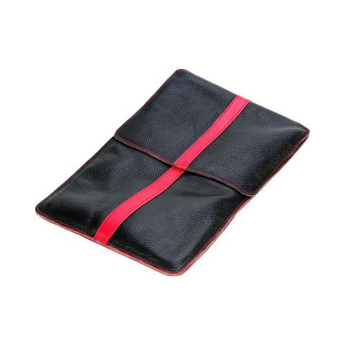 OEM Luardi Apple iPad (All Gen.) Genuine Leather Case Pouch w/ Pockets & Suede Interior - Black w/ Red Stripe