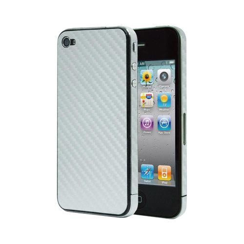 OEM Luardi Apple iPhone 4/4S Reusable Protective Skin w/ Screen Protector - Silver Carbon Fiber Design