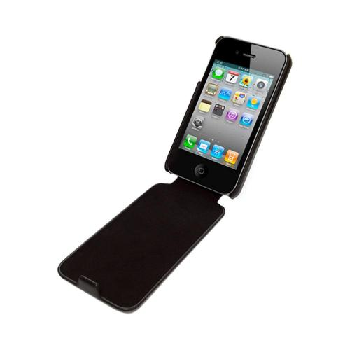 OEM Luardi Apple iPhone 4/4S Seamless Genuine Leather Vertical Flip Pouch Case - Black