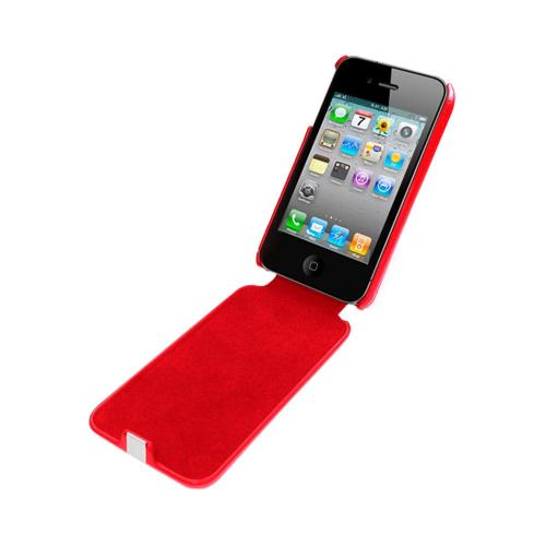 OEM Luardi Apple iPhone 4/4S Seamless Genuine Leather Vertical Flip Pouch Case - Red w/ White Stripe