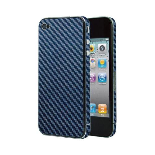 OEM Luardi Apple iPhone 4/4S Reusable Protective Skin w/ Screen Protector - Blue Carbon Fiber Design
