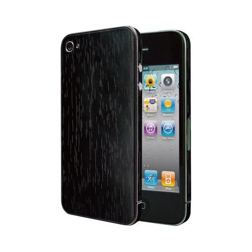 OEM Luardi Apple iPhone 4/4S Reusable Wood Texture Protective Skin w/ Screen Protector - Blackwood