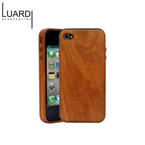 OEM Luardi Apple iPhone 4/4S Genuine Mahogany Wood Slider Hard Case w/ Screen Protector - Brown