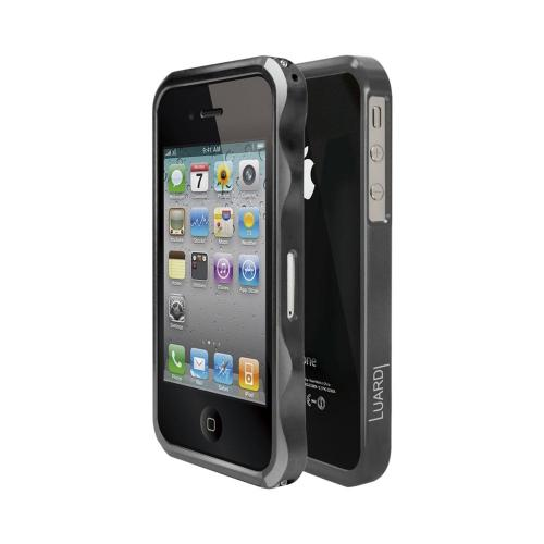 OEM Luardi Apple iPhone 4/4S Slim Aluminum Bumper Case w/ Screen Protector - Graphite Silver