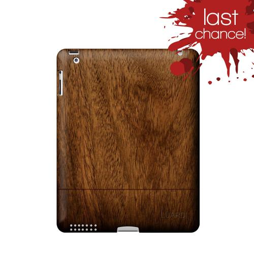 OEM Luardi Apple iPad 2 Genuine Hand Crafted Black Walnut Wood Case w/ Smart Cover & Screen Protector - Brown