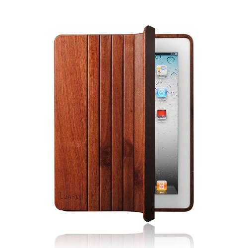 OEM Luardi Apple iPad 2 Genuine Hand Crafted Padouk Wood Case w/ Smart Cover & Screen Protector - Brown