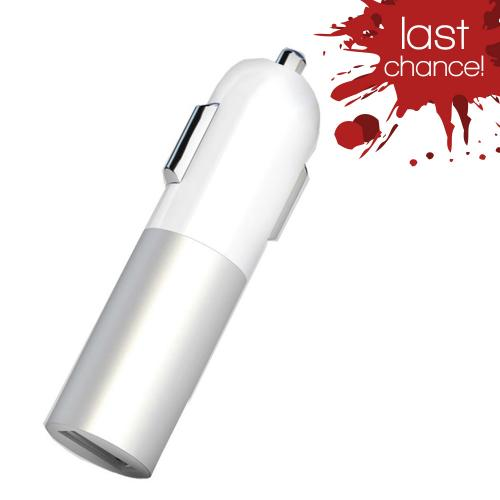 Universal USB Input Hi-Tech Car Charger w/ LED Indicator (2A) Silver/ White (Can Charge iPad!)