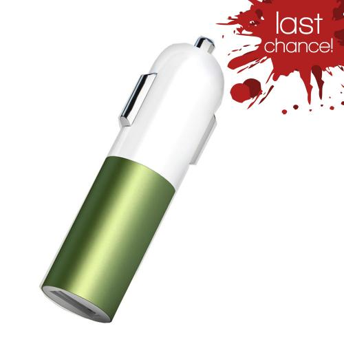 Universal USB Input Hi-Tech Car Charger w/ LED Indicator (2A) Green/ White (Can Charge iPad!)